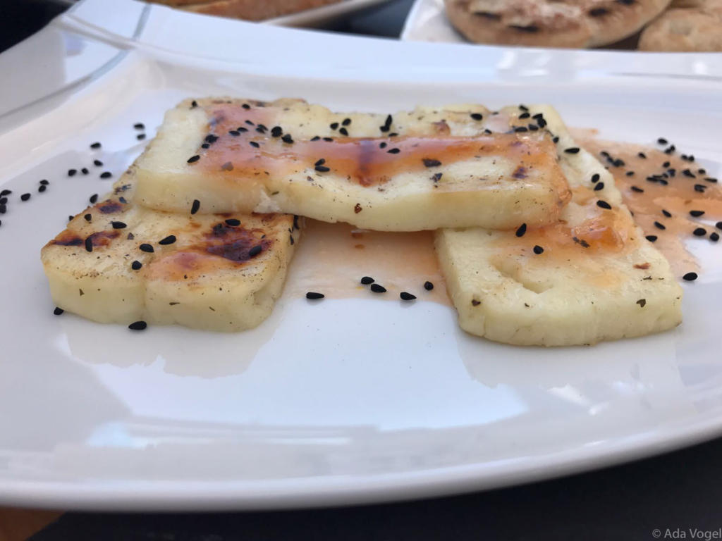 Grilled Halloumi with poppy seeds