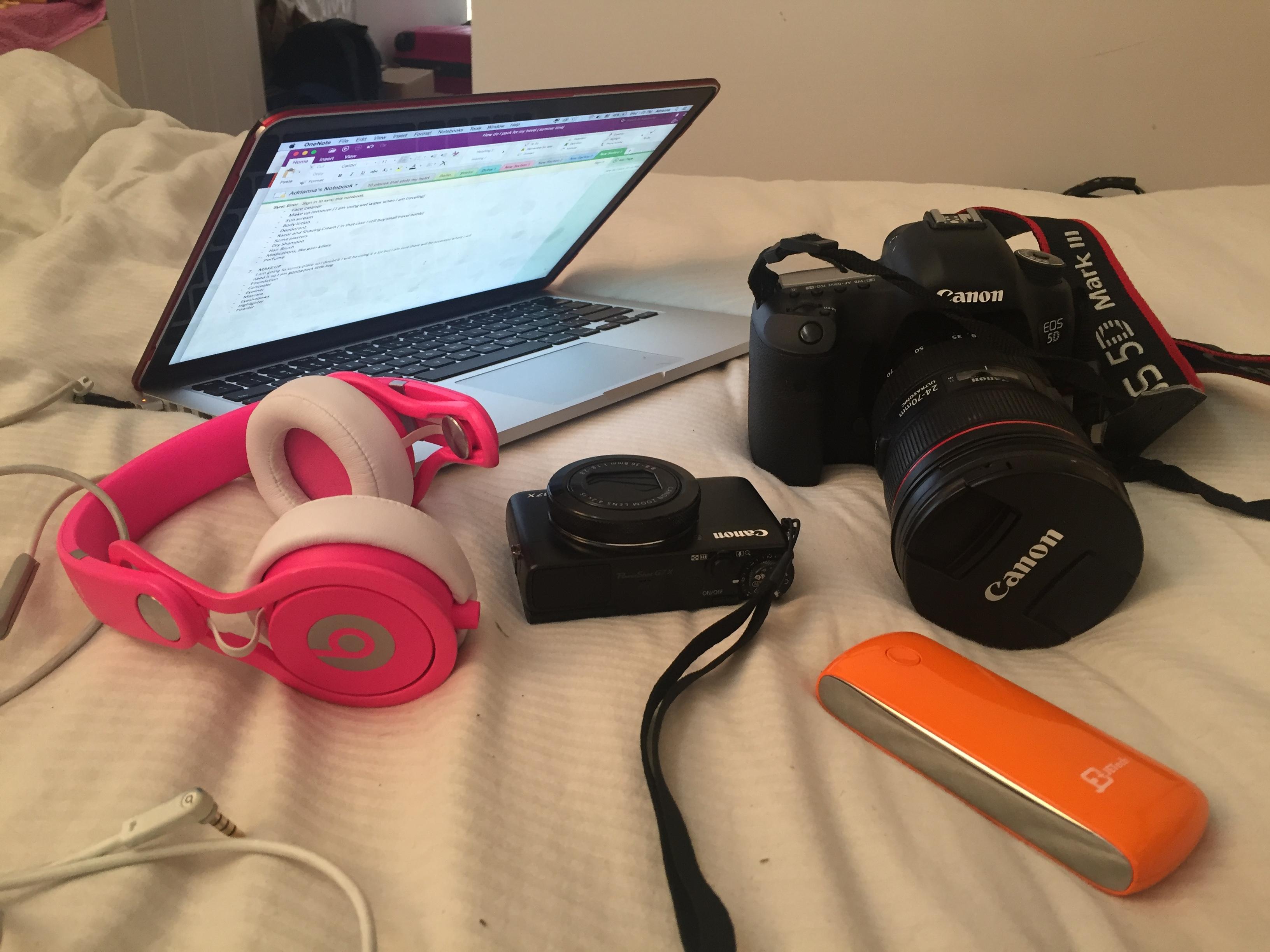 Beats Headphones, Macbook, Cannon 5D Mark III, and Juice Pack